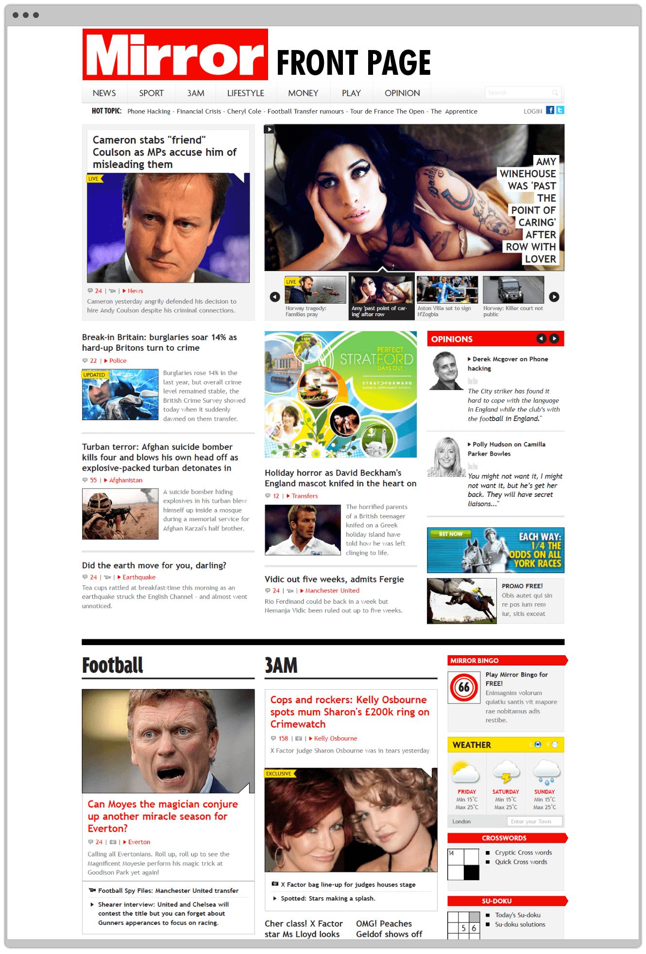 Website Design Mirror Online Homepage