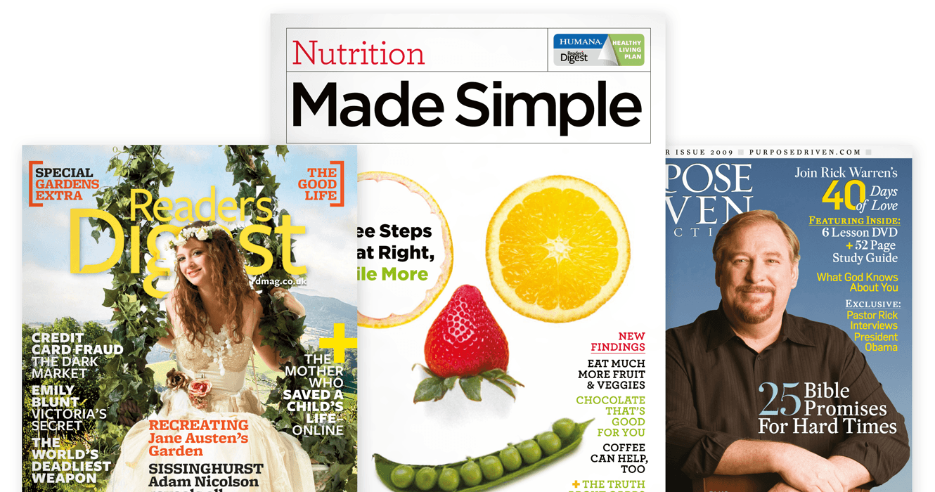 Creative Direction By &&& Creative For Reader's Digest, 3 Magazine Cover Desaigns