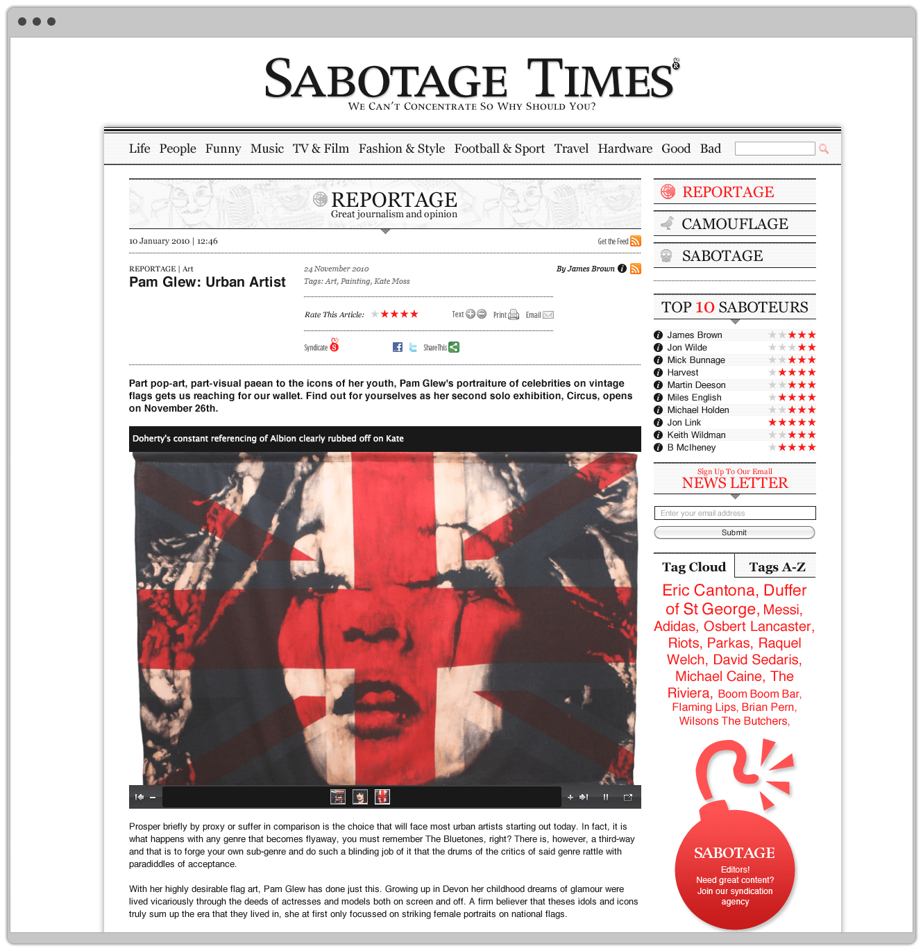 Sabotage Times Homepage Designed By &&& Creative