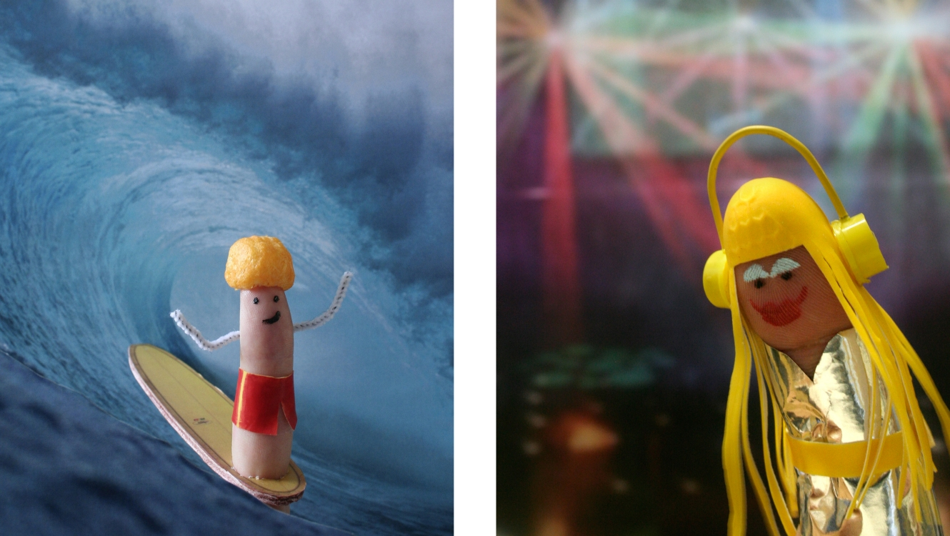 Cheesy Surfer & Silent Disco Dancer From The Smart Gesture Finger Family Designed By &&& Creative