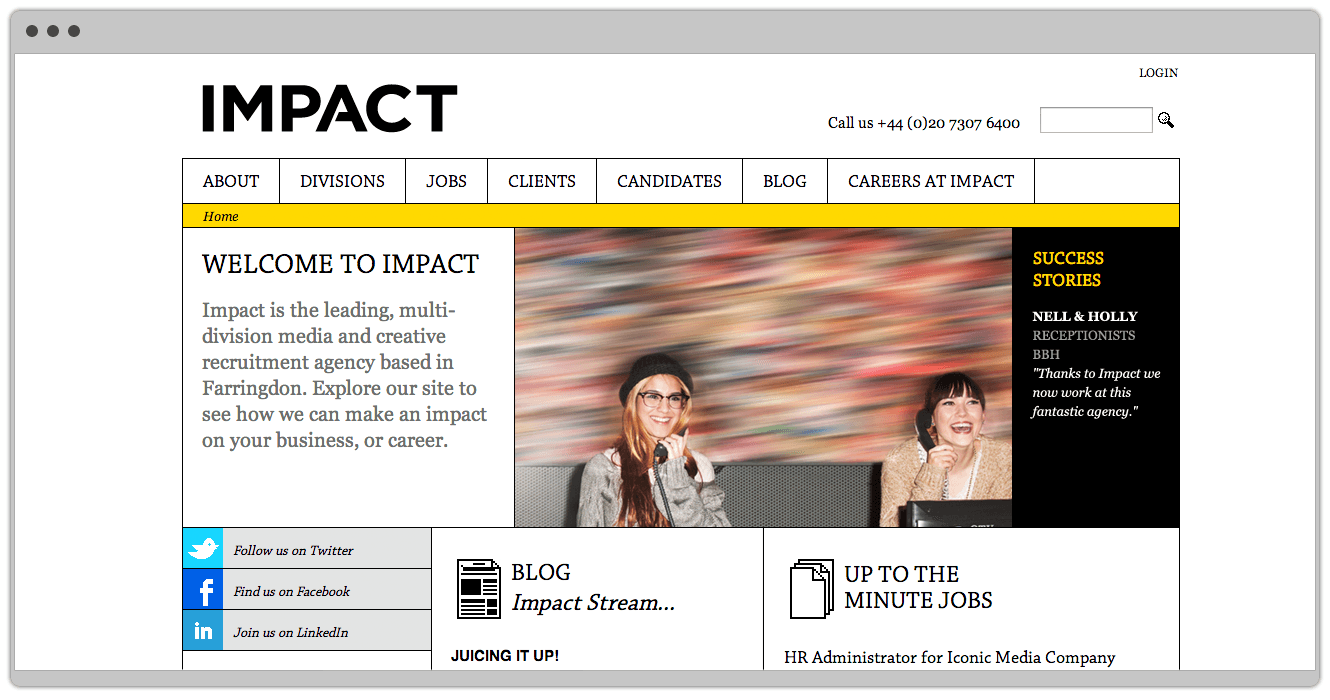 Website Design For Www.impact London.com Designed By &&& Creative