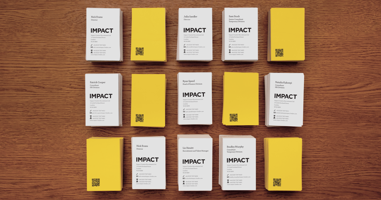 Business Cards For Impact Creative Recruitment Ltd Design By &&& Creative