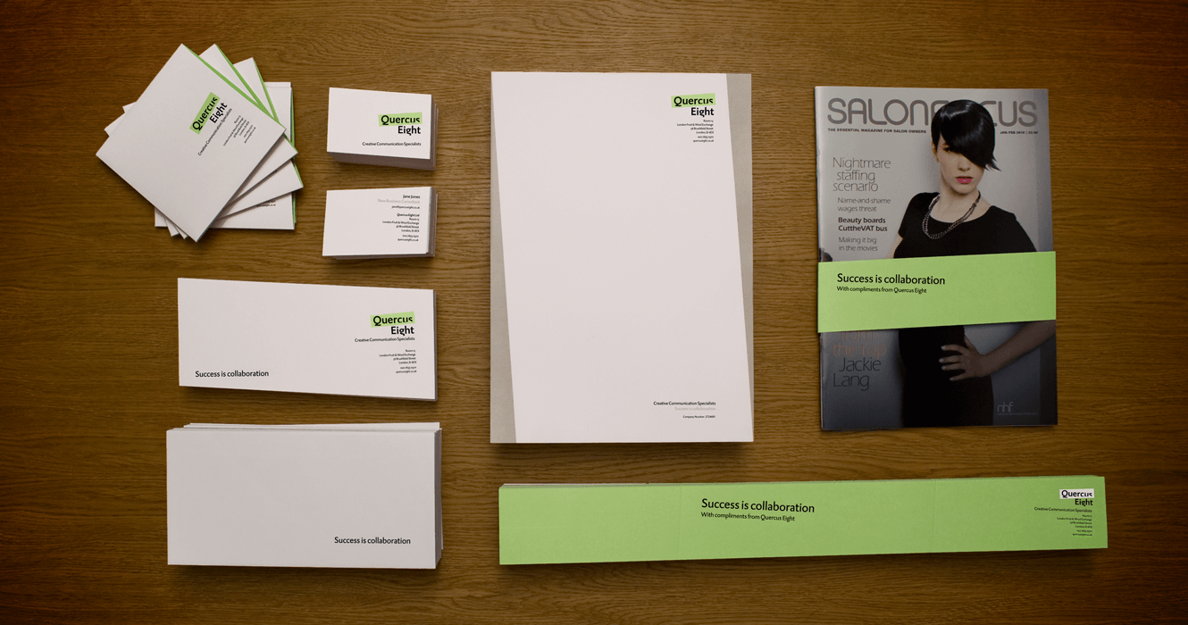 Brand Collateral For Quercus Eight Designed By &&& Creative