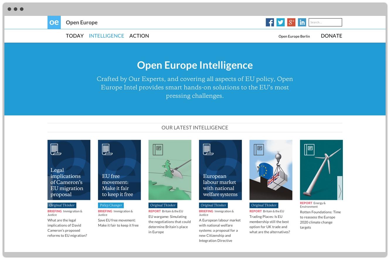 Open Europe Website Design