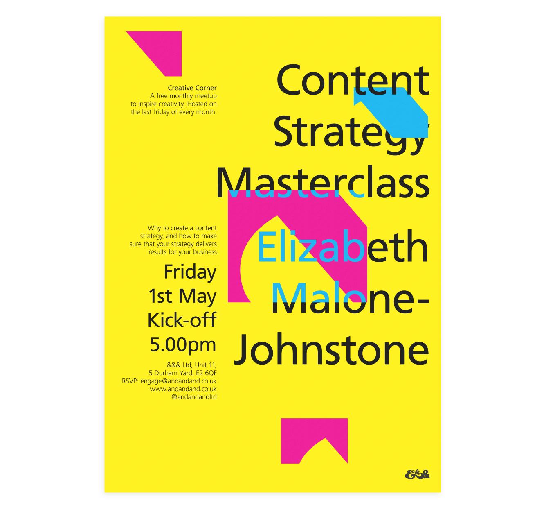 Creative Corner Poster   Content Strategy Masterclass